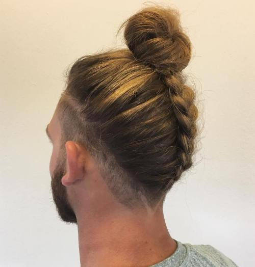 Men's Upside Down Braid With A Bun