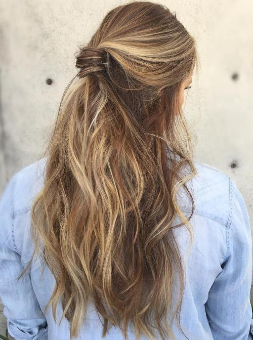 Half Up Messy Ponytail For Long Hair
