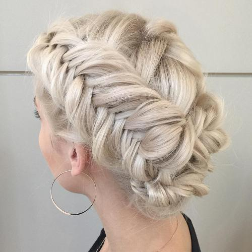 Fishtail Braid Blonde Updo