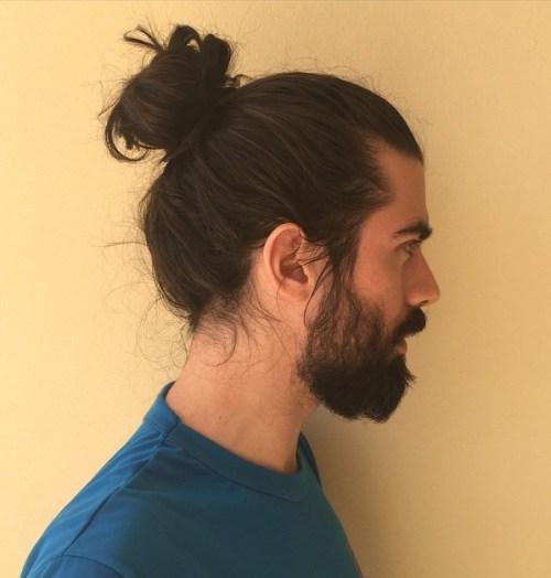 mens donut bun with a beard