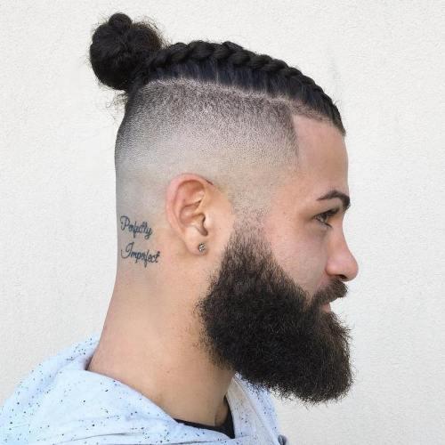 Long Top Shaved Sides Hair Man Bun