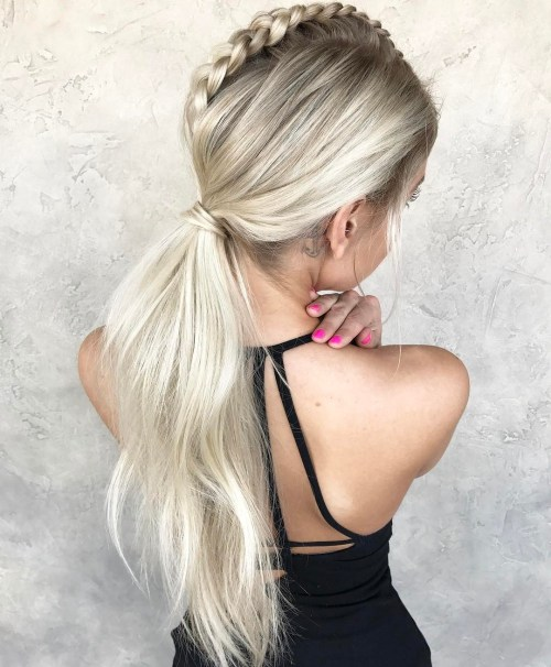 Mohawk Braid With A Low Ponytail