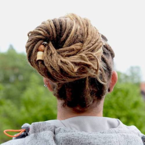 Dreads Bun Hairstyle For Men