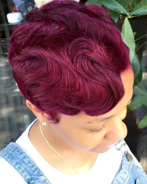 Short Burgundy Finger Waves Hairstyle