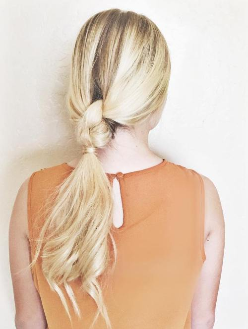Half Braided Blonde Ponytail