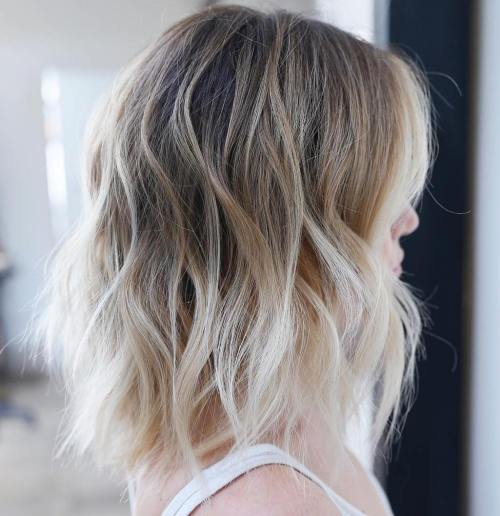 Messy Blonde Balayage Ombre Lob