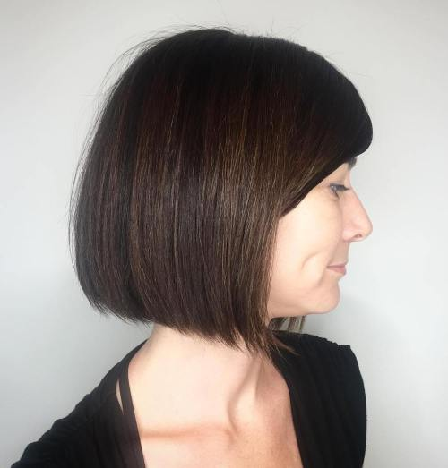 Coffee Brown Bob With Bangs