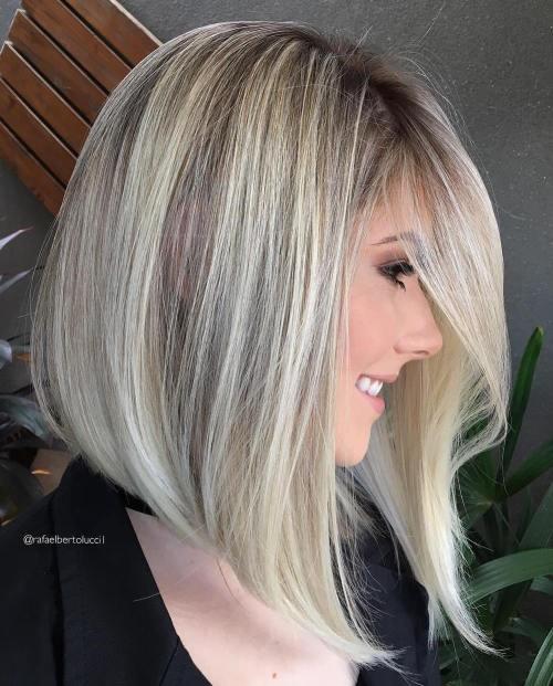 Long Angled Blonde Bob