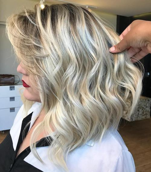 Blonde Wavy Balayage Lob