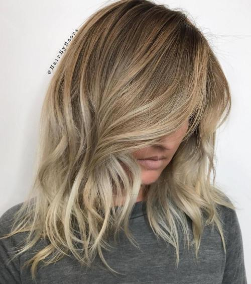 Mid-Length Brown To Blonde Balayage Hair