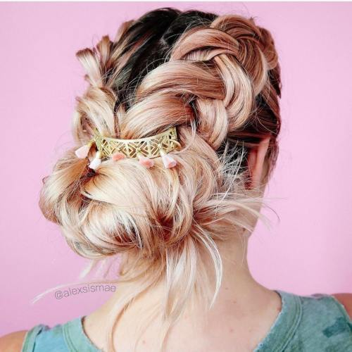 Braided Updo With Tasseled Cuff
