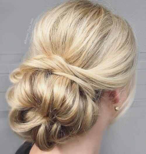 Messy Low Blonde Sock Bun