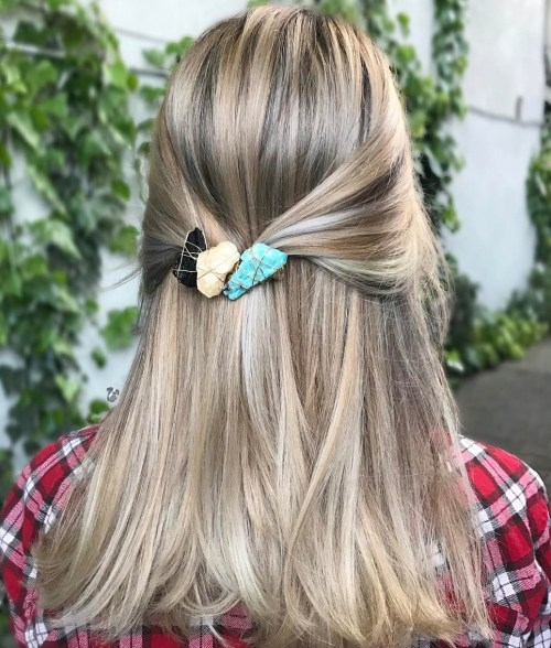 Half Updo With Stone Barrette
