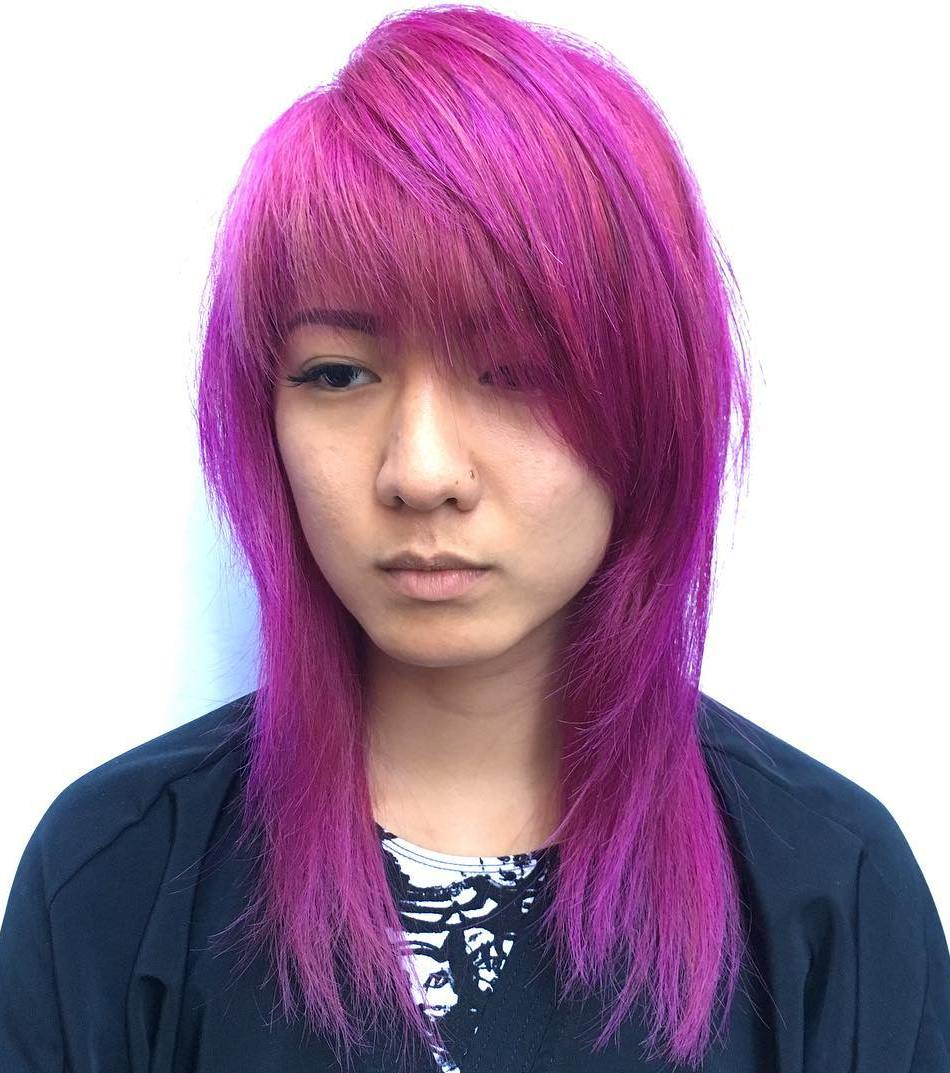 Mid Length Magenta Hairstyle With Side Bangs