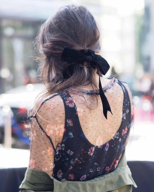 Messy Half Updo With Ribbon