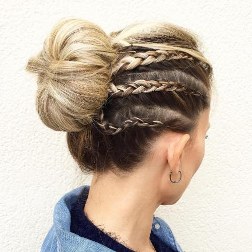 Sock Bun With Cornrows