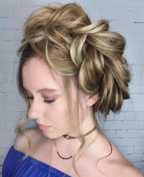 Messy Loose Halo Braid Updo