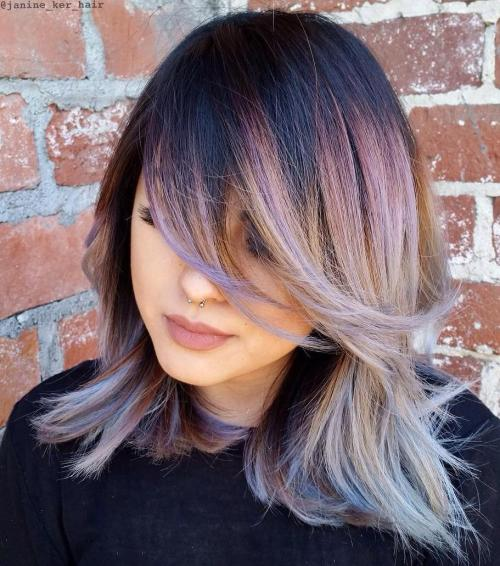 Long Bob With Bangs And Root Fade