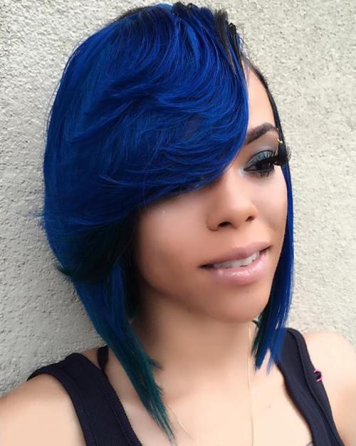 Blue Weave Bob