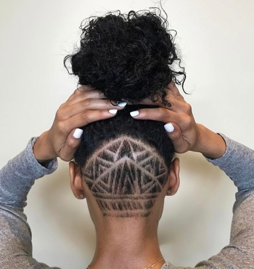 Natural Hairstyle With Shaved Nape Designs