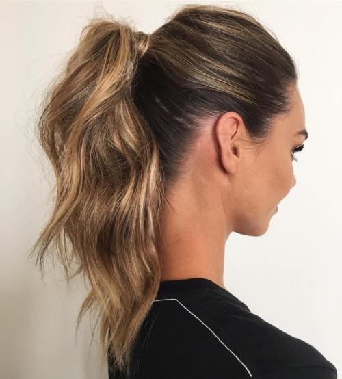 Wavy Ponytail With A Wrap