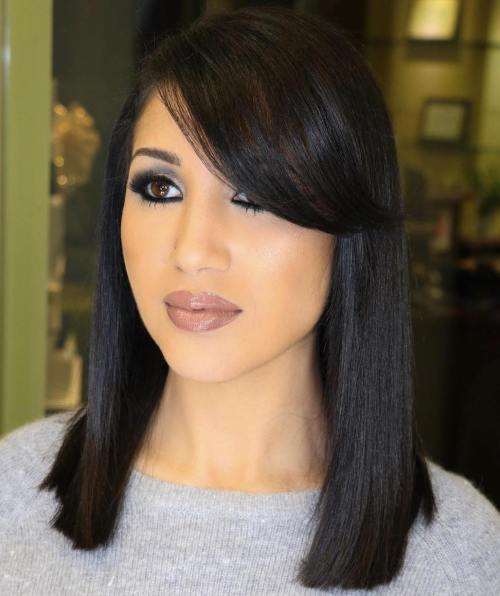 Blunt Black Bob With Side Bangs