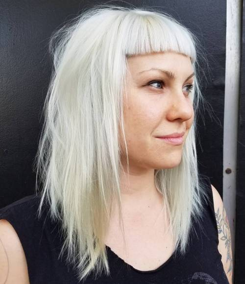 Choppy Platinum Lob With Cropped Bangs