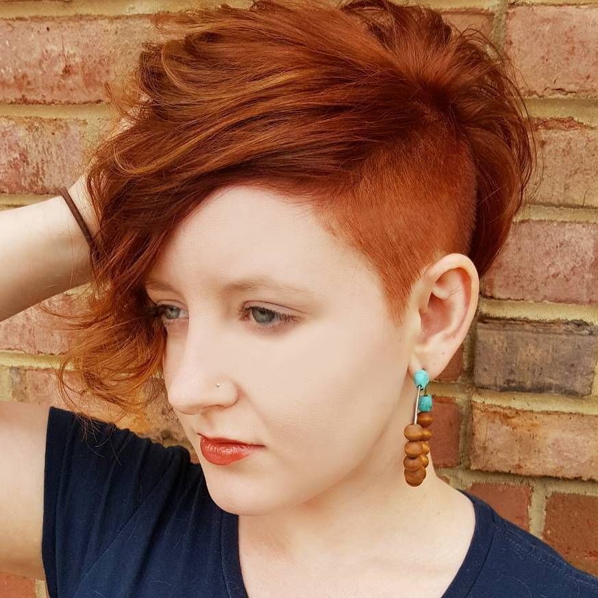 17 No,Fuss Half,Shaved Mohawk. Red Pixie Bob With Side Undercut