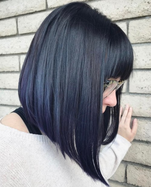 Black Straight Angled Bob With Bangs