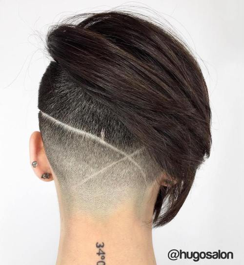 Asymmetrical Half Shaved Short Bob
