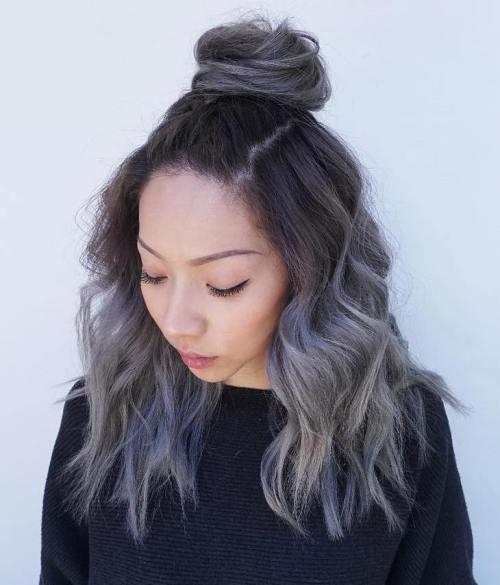 Half Bun Gray On Ombre Hair