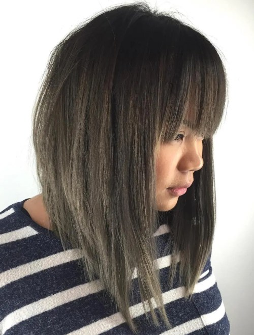 Asian Angled Bob With Fringe