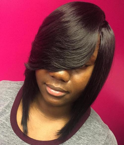 Angled Sew In Bob With Layered Side Bangs