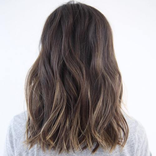 Cool Brown Lob With Highlights