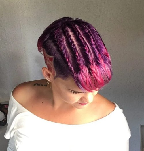 Magenta Pixie With Braids