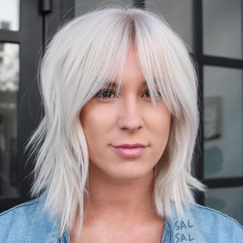 Layered Platinum Bob With Bangs