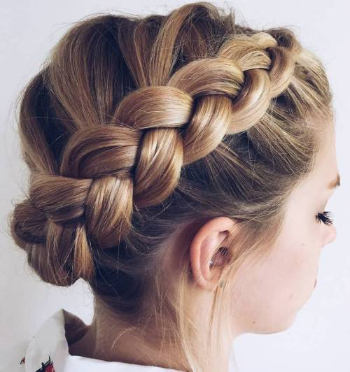 Crown Dutch Braid Updo Hairstyle