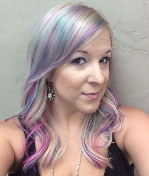 Silver Hair With Blue And Purple Streaks