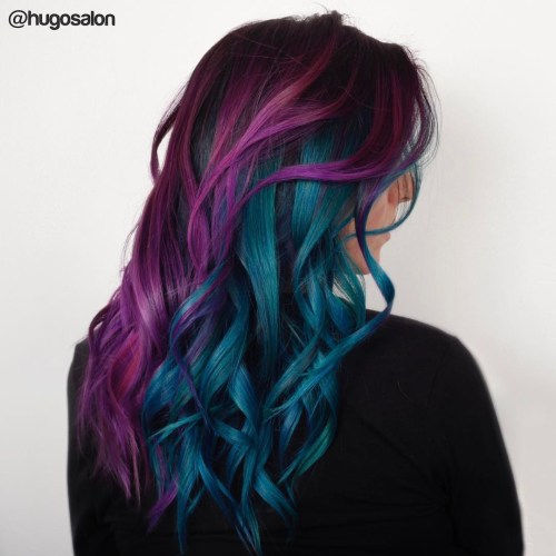 Long Half Purple Half Aqua Blue Waves