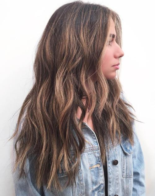 Long Layered Caramel Balayage Hair