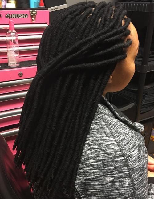 Long Black Yarn Dreads