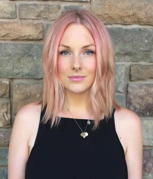 Medium Bob With Pink Roots