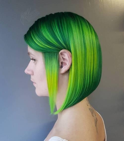 Vibrant Green Angled Bob