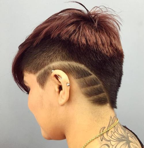 Pixie Undercut With Shaved Designs