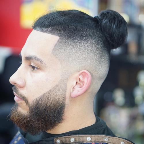 long hair fade with bun