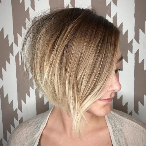 Side Parted Asymmetrical Ombre Bob
