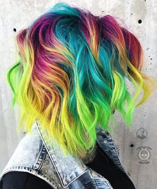 Tousled Rainbow Colored Bob
