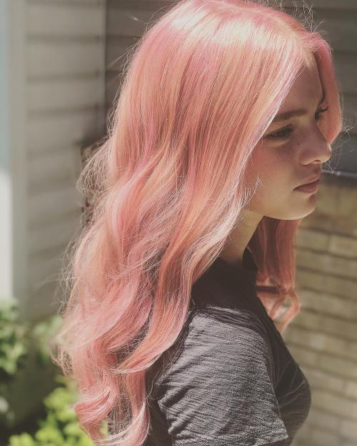 Pink Hair With Strawberry Blonde Streaks