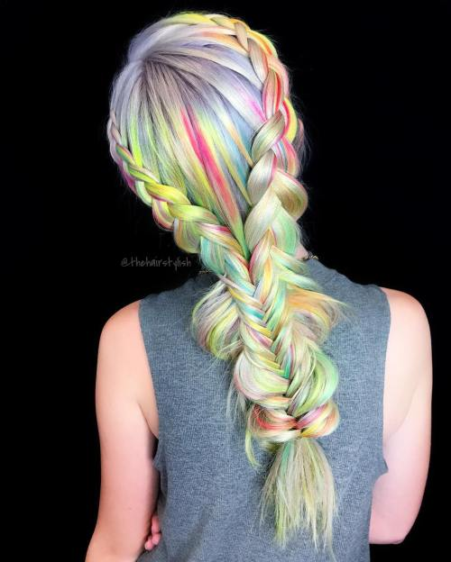 Pastel Colored Braided Hairstyle