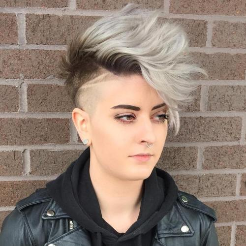 Half Shaved Brown And Gray Pixie